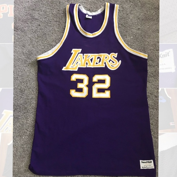 Magic Johnson Lakers Sandknit Jersey large